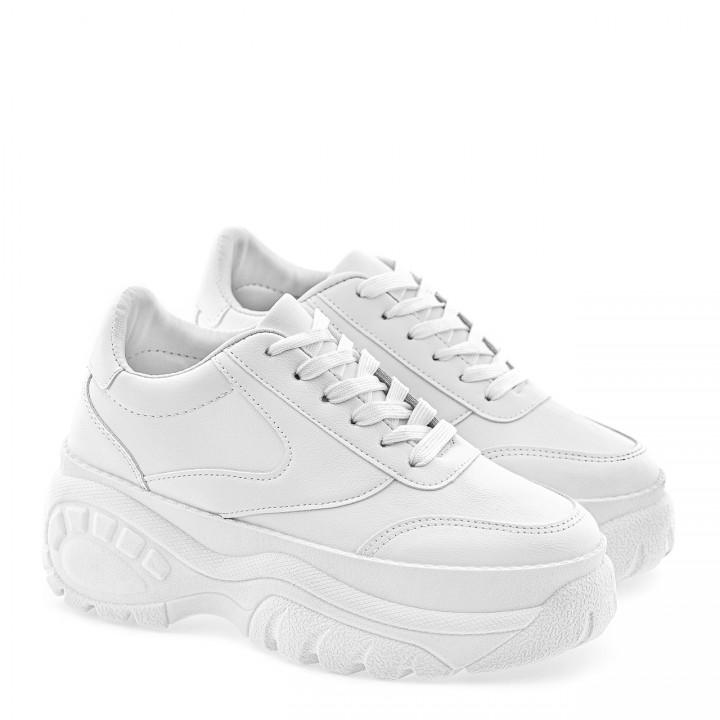 Białe sneakersy sportowe skórzane z przeszyciami na grubej podeszwie