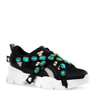 Czarne buty sportowe na wysokiej podeszwie z cyrkoniami