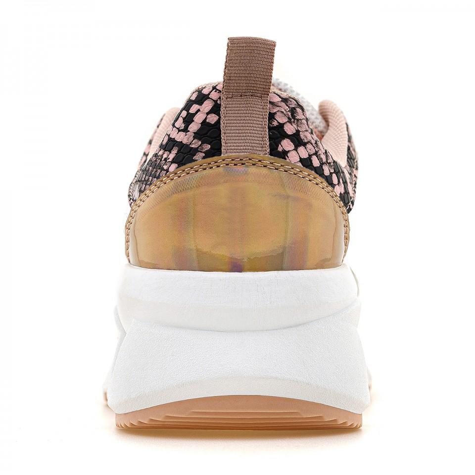 Różowe sneakersy na wysokiej podeszwie ze wstawką animal print