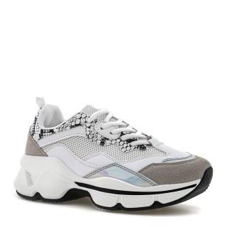 Białe buty sportowe na wysokiej podeszwie ze zwierzęcymi wstawkami