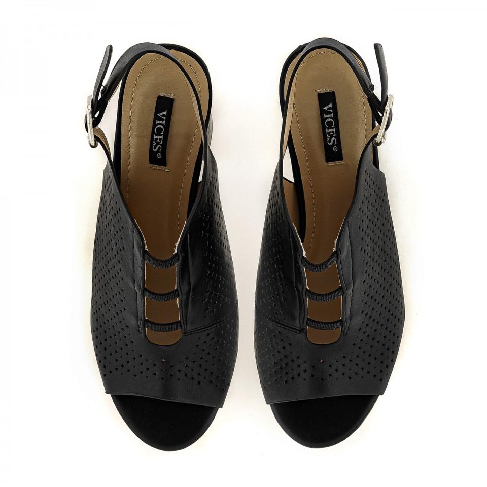 Czarne sandały peep toe z ekoskóry na wysokim słupku
