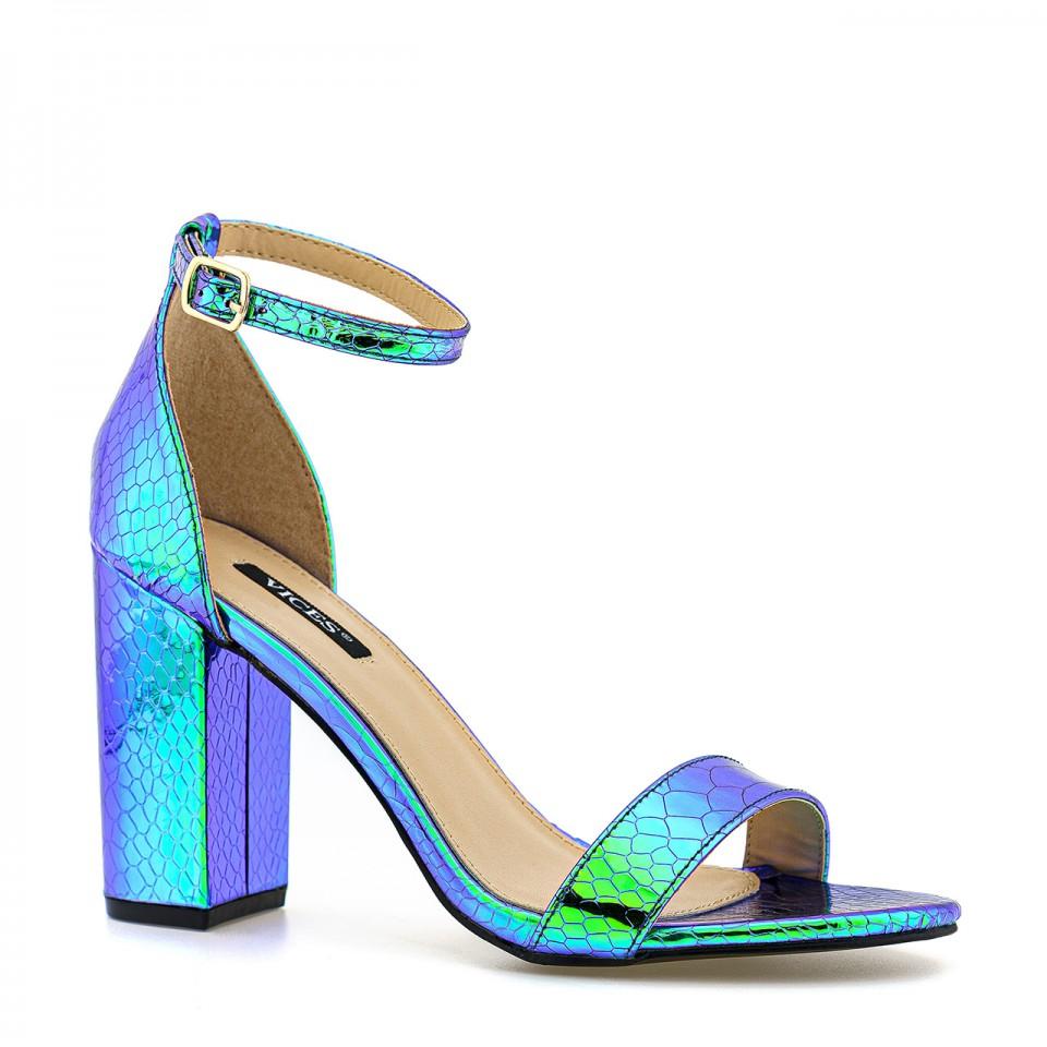Niebieskie damskie sandały na lato na wysokim obcasie