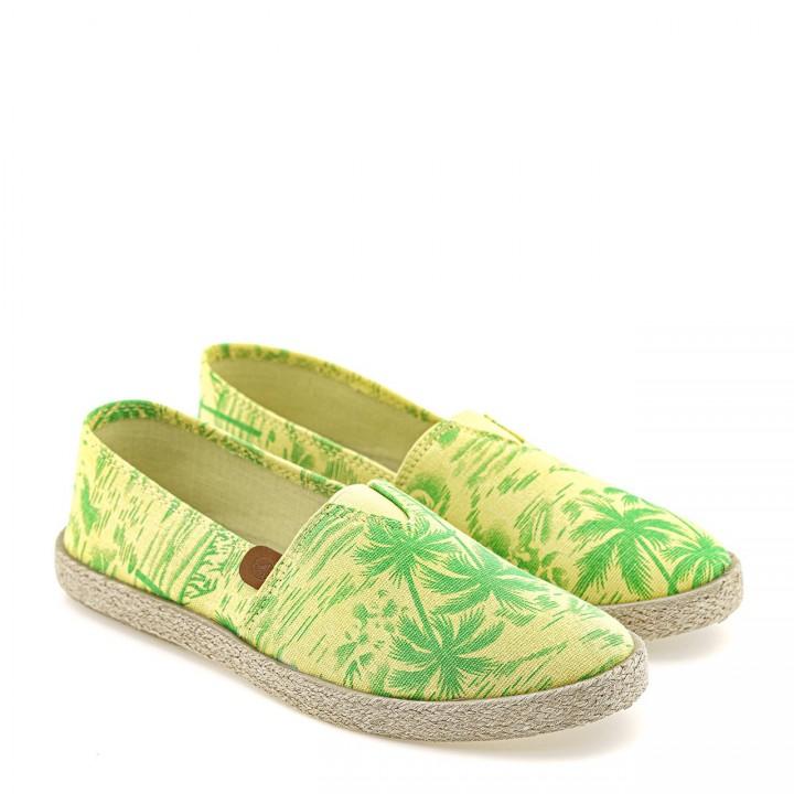 Żółto-zielone espadryle na jutowej podeszwie z palmowym printem