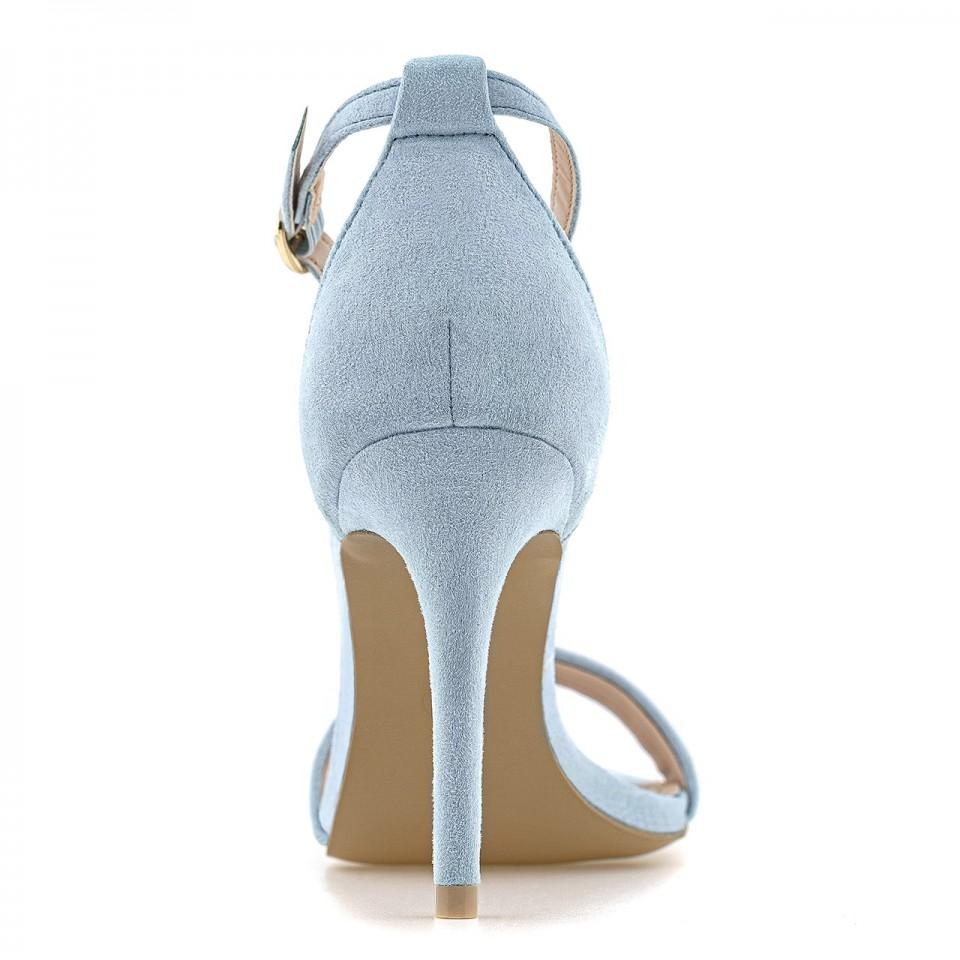 Niebieskie zamszowe sandały na wysokiej szpilce z zapięciem wokół kostki