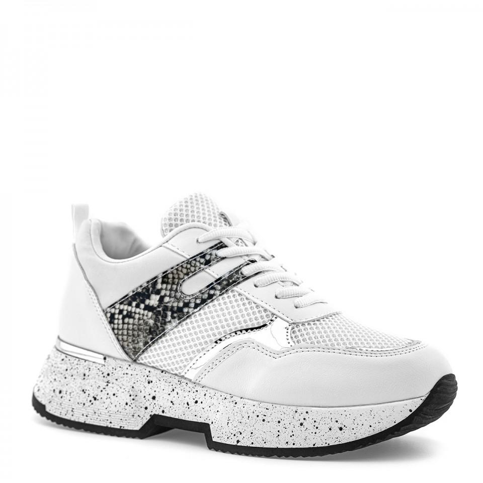 Białe sneakersy z grubą centkowaną podeszwą i wstawką z wężowym wzorem