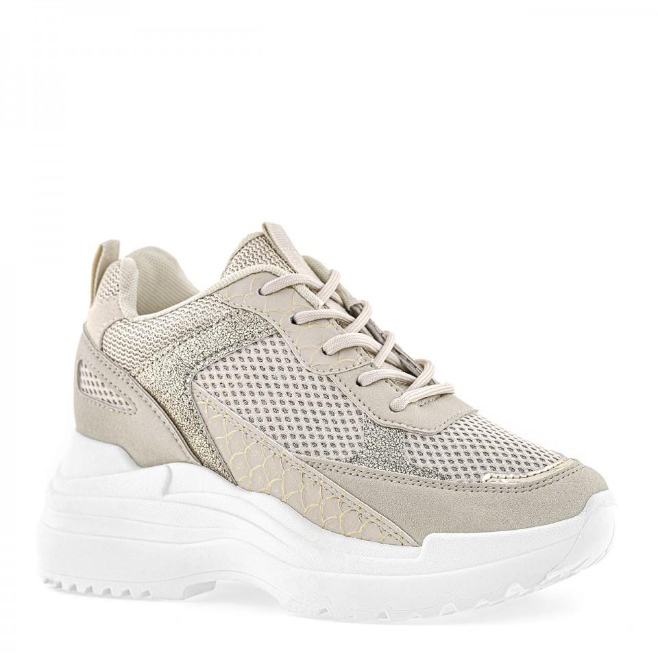 Beżowe sznurowane sneakersy na ukrytym koturnie z błyszczącymi wstawkami