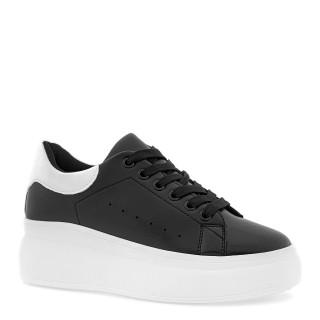 Czarne sneakersy skórzane na grubej białej podeszwie