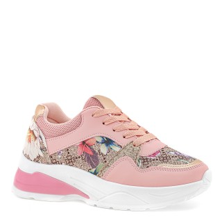 Różowe sneakersy z kwiatowym printem i złotymi wstawkami