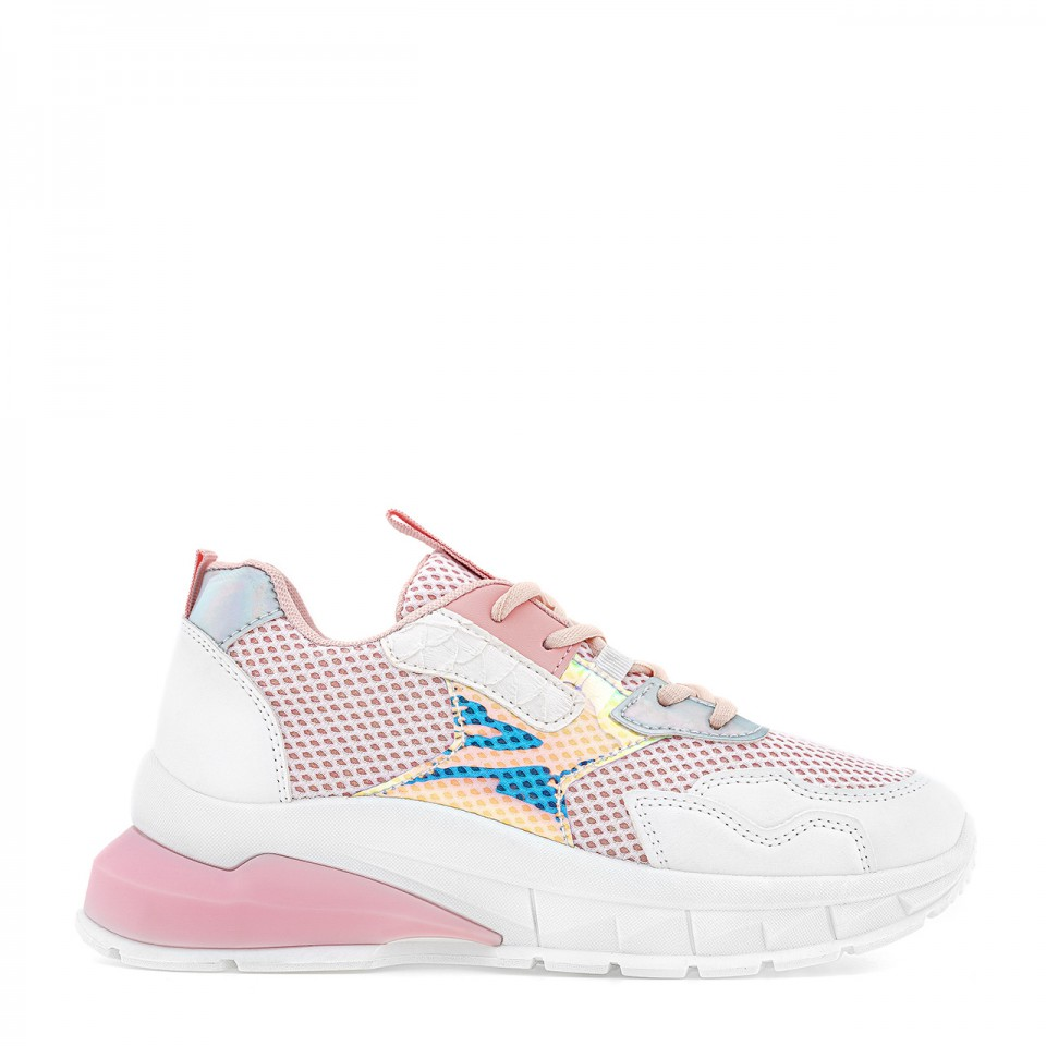 Różowo-białe sneakersy na wysokiej podeszwie z holograficzną wstawką