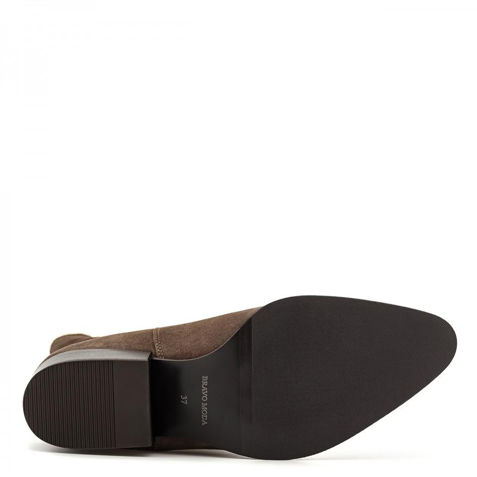 Buty damskie botki brązowe