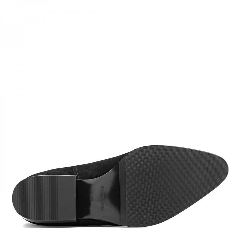 Czarne botki premium z naturalnej welurowej skóry na niskim obcasie