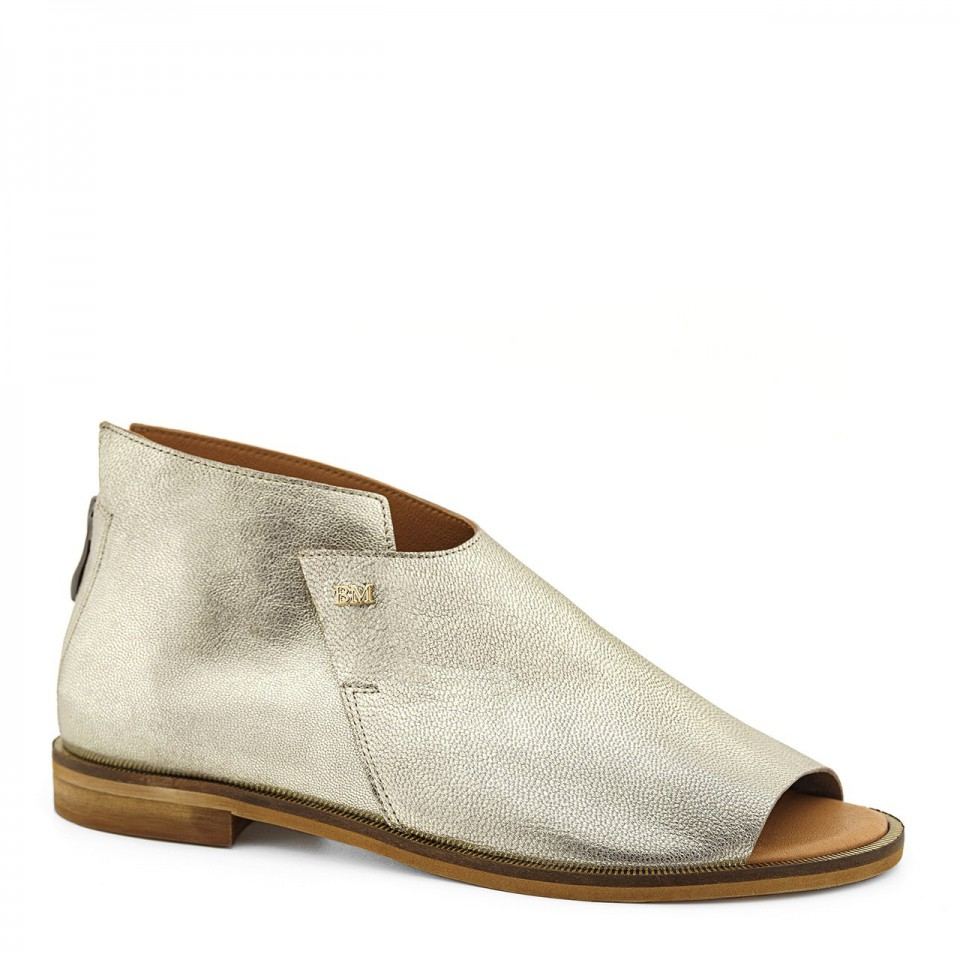 Złote sandały ze skóry naturalnej premium open toe na płaskim obcasie