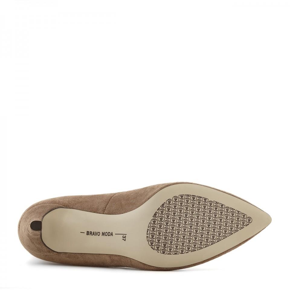 Brązowo-szare botki premium taupe na szpilce z elastyczną cholewką