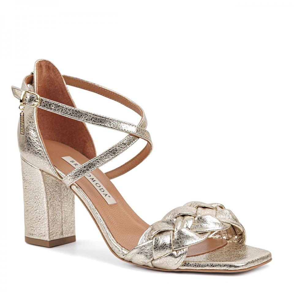 Złote sandały z naturalnej skóry z warkoczem na wysokim słupku