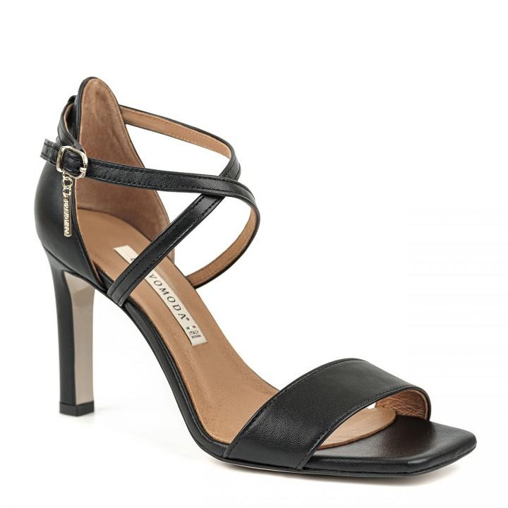 Czarne sandały premium z naturalnej skóry na szpilce ze ściętymi noskami
