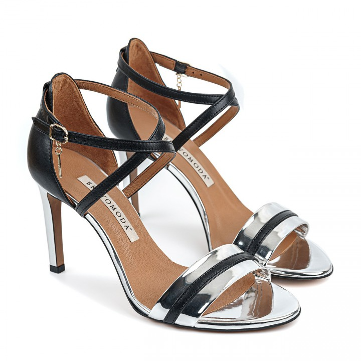 Czarno-srebrne sandały z naturalnej licowej skóry premium na wysokiej szpilce