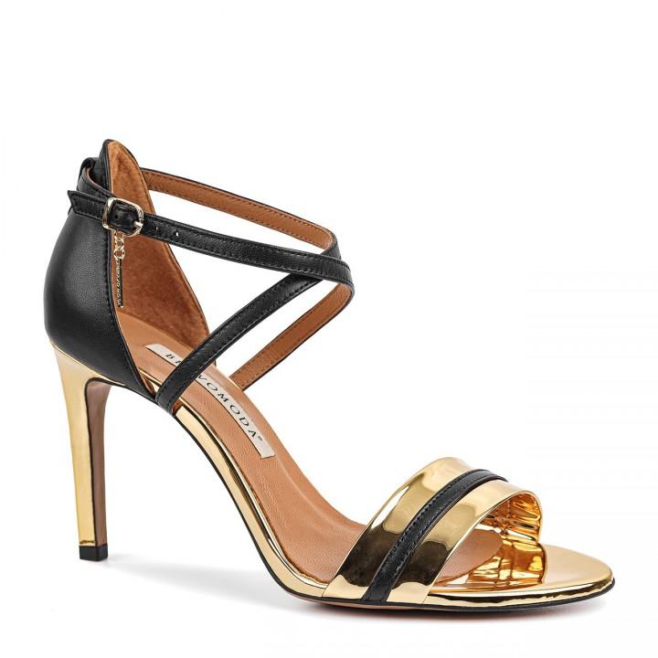 Czarno-złote sandały z naturalnej licowej skóry premium na wysokiej szpilce