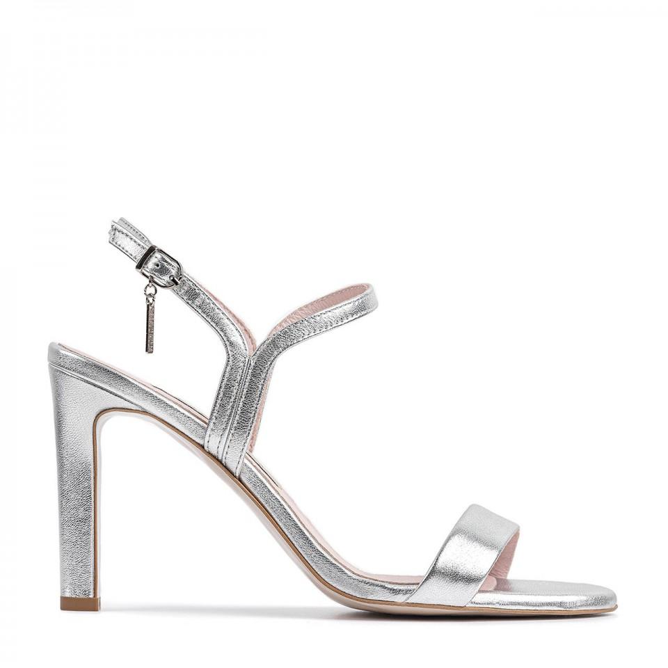 Srebrne sandały z naturalnej skóry premium na wysokim obcasie z okrągłymi noskami