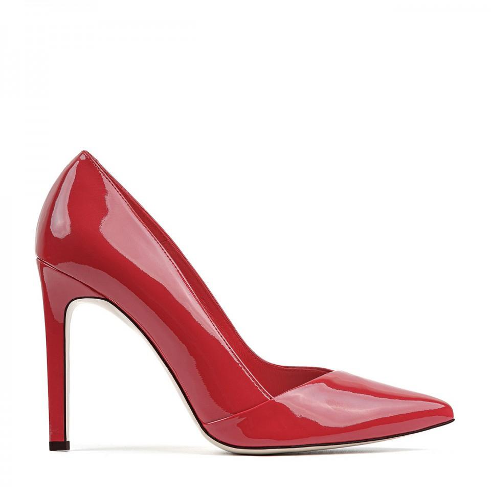Czerwone lakierowane wysokie szpilki z naturalnej skóry premium z zakładką
