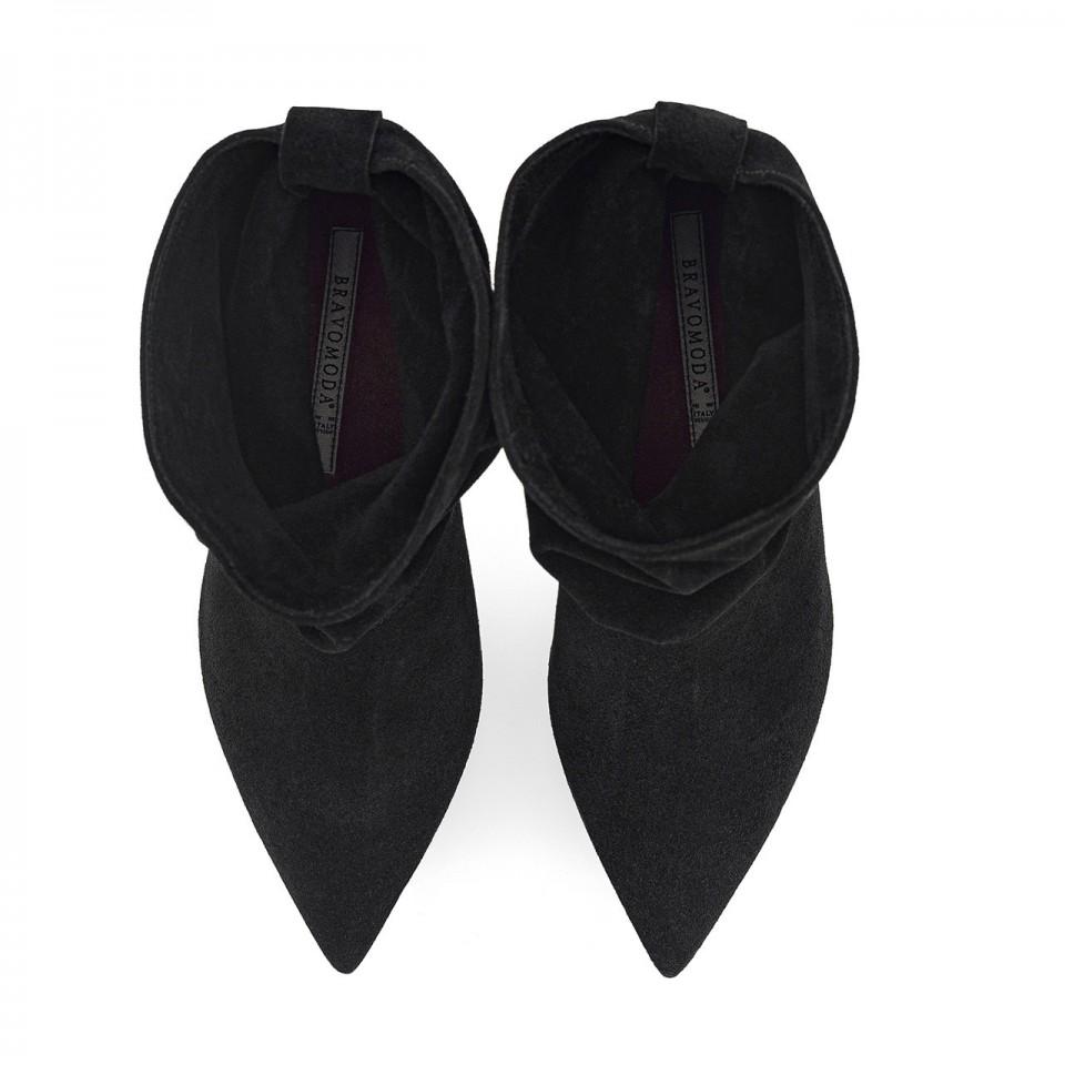 Czarne botki premium z luźną cholewką na szpilce z naturalnej skóry welurowej