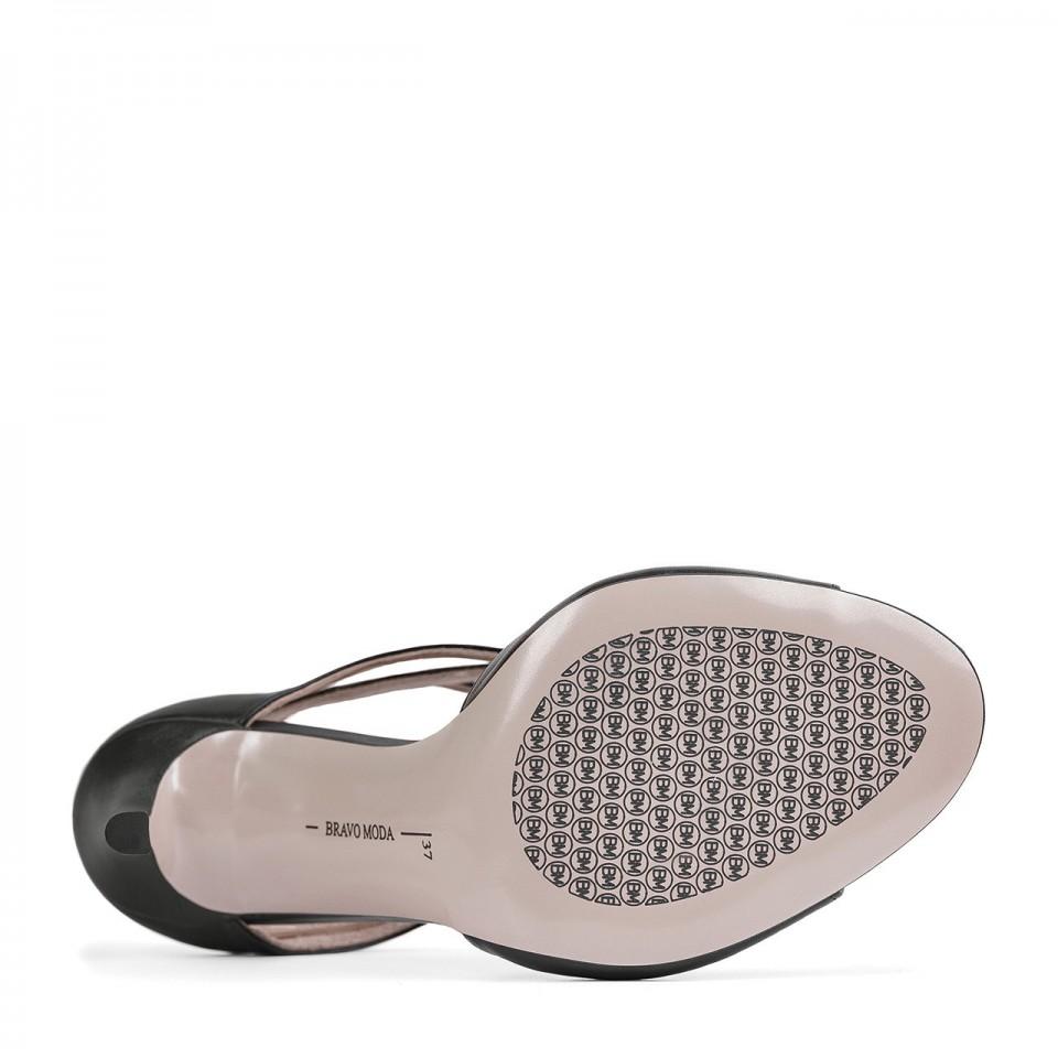 Czarne sandały premium z naturalnej skóry na wysokiej szpilce z wycięciami